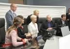 Pierwsza Dama Republiki Estońskiej Evelin Ilves wstudiu telefitingu