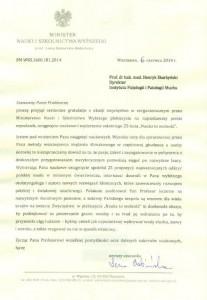 List gratulacyjny odprof.Lena Kolarska-Bobińska