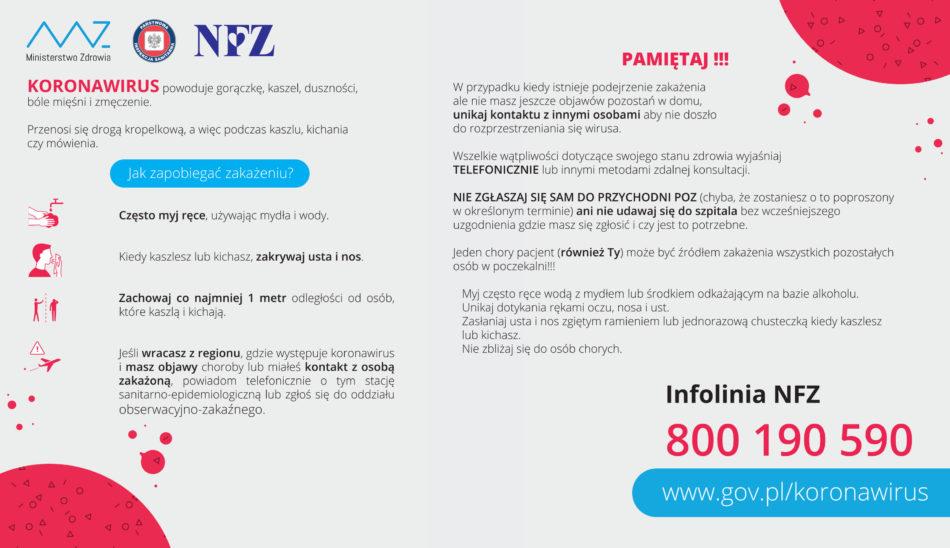 Plakat Ministerstwa Zdrowia okoronawirusie